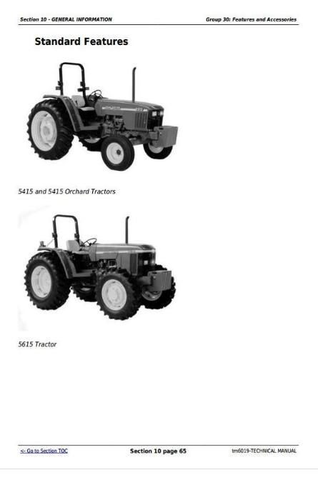 John Deere Tractors 5415, 5415N; 5415H, 5615, 5615HC; 5715